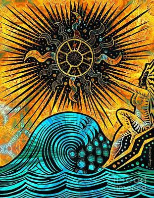 Visionary Art Drawing - Big Sur Sun Goddess by Joseph J Stevens