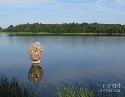 Sun In The Lake. Park Vilnoja. Suderve. Lithuania. Print by Ausra Huntington nee Paulauskaite