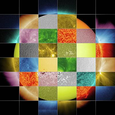 Sun Observed At Different Wavelengths Print by Nasa/sdo/goddard Space Flight Center