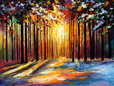 Sun Of January - Palette Knife Landscape Forest Oil Painting On Canvas By Leonid Afremov Original by Leonid Afremov