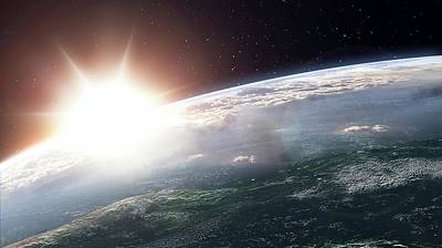 Space Photograph - Sun Over Earth by Andrzej Wojcicki