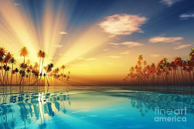 Sun Rays Digital Art - Sun Rays Inside Coconut Palms by Aleksey Tugolukov