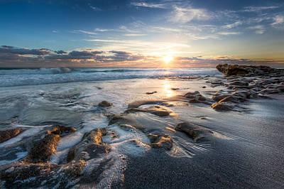 Sun Rays On The Ocean Print by Debra and Dave Vanderlaan