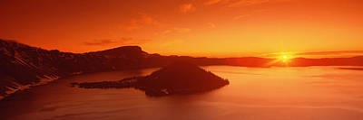 Sun Rising Over Crater Lake National Print by Panoramic Images