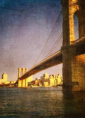 Sun Sets On The Brooklyn Bridge Print by Joann Vitali