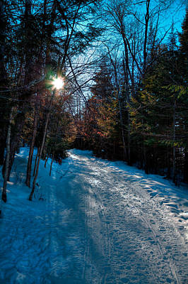 Snowmobile Photograph - Sun Setting On The Lock And Dam Trail by David Patterson