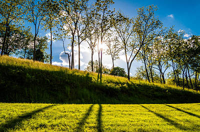 Sun Shining Through Trees And Shadows On The Grass At Antietam National Battlefield Maryland Print by Jon Bilous