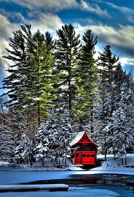 Snow Scenes Photograph - Sun Shinning On The Red Boathouse by David Patterson