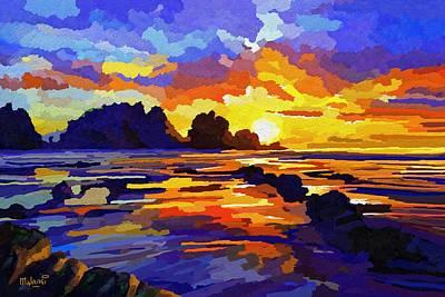 Vivid Colour Painting - Sun Sky And Sea Drama by Anthony Mwangi