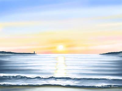 Seascape Digital Painting - Sun by Veronica Minozzi