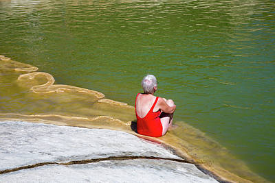 Sunbathers Photograph - Sunbather At A Geothermal Pool by Jim West