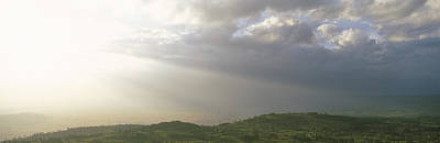 Radiates Photograph - Sunbeams Radiating Through Clouds by Panoramic Images