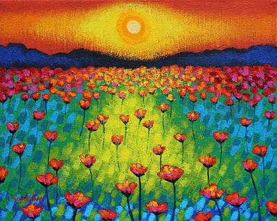 Sunburst Poppies Original by John  Nolan