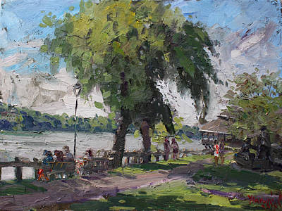 Sunday At Lewiston Waterfront Park Print by Ylli Haruni