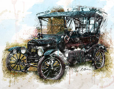 Ford Model T Car Digital Art - Sunday Driver by Gary Bodnar