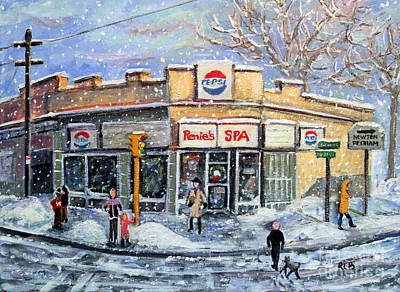 Main Street Corners Painting - Sunday Morning At Renie's Spa by Rita Brown
