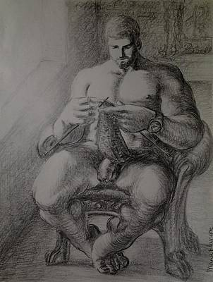 Hunk Drawing - Sunday Morning-man At Home Knitting by Manat Large