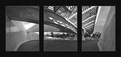 Sundial Bridge Bw Triptych 2 Original by Leland D Howard
