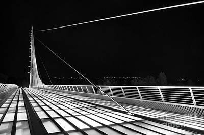 Sundial Bridge - Unique And Beautiful In Redding California In Black And White. Print by Jamie Pham
