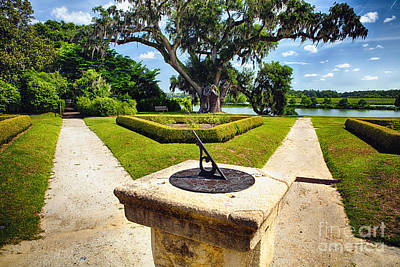 Sundial In Plantation Garden Print by George Oze