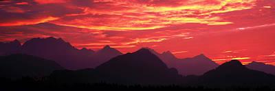Mountain Photograph - Sundown Austrian Mts South Bavaria by Panoramic Images