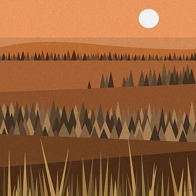 Minimalist Landscape Digital Art - Sundown Browns by Val Arie