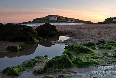 Incoming Tide Photograph - Sundown On The Beach  At Bigbury On Sea In Devon by Louise Heusinkveld