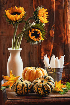 Sunflower And Gourds Still Life Print by Amanda Elwell