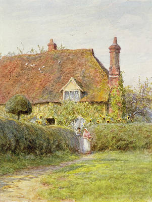 Sunflower Cottage Print by Helen Allingham