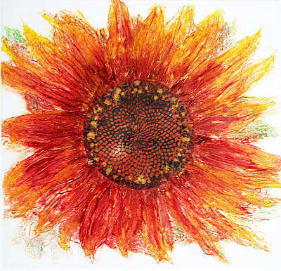 Collagraph Painting - Sunflower Deep by J L Carothers