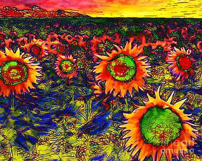 Sunflower Field 20130730 Horizontal Print by Wingsdomain Art and Photography