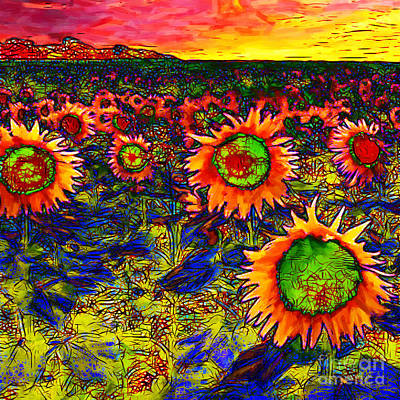 Sunflower Field 20130730 Square Print by Wingsdomain Art and Photography