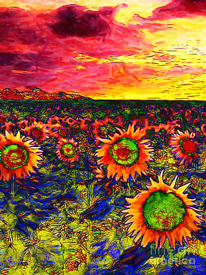 Sunflower Field 20130730 Vertical Print by Wingsdomain Art and Photography