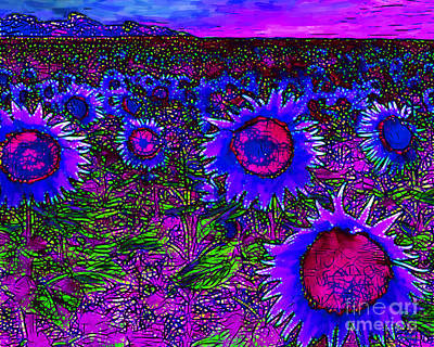 Sunflower Field 20130730m128 Horizontal Print by Wingsdomain Art and Photography