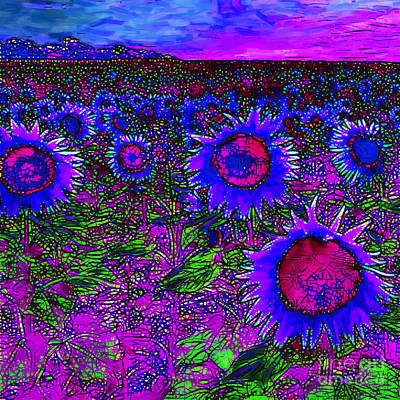 Sunflower Field 20130730m128 Square Print by Wingsdomain Art and Photography
