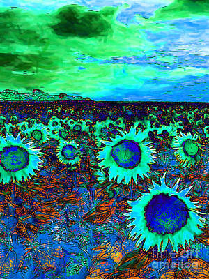 Sunflower Field 20130730p150 Vertical Print by Wingsdomain Art and Photography