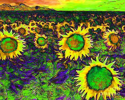 Sunflower Field 20130730p35 Horizontal Print by Wingsdomain Art and Photography