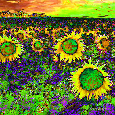 Sunflower Field 20130730p35 Square Print by Wingsdomain Art and Photography