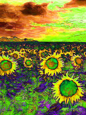Sunflower Field 20130730p35 Vertical Print by Wingsdomain Art and Photography