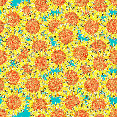 Turquoise Drawing - Sunflower Field by Sharon Turner