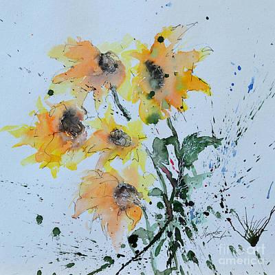 Sunflower- Flower Painting Print by Ismeta Gruenwald