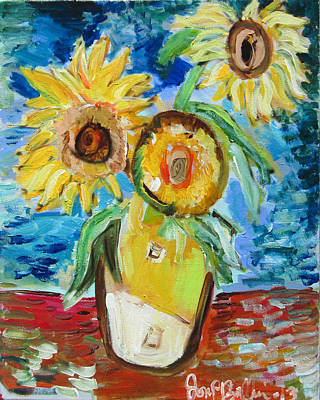 Painting - Sunflower Homage  by Jon Baldwin  Art