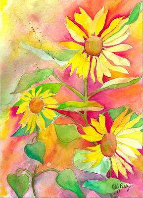 Abstracted Coneflowers Painting - Sunflower by Kelly Perez