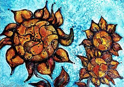 Painting - Sunflower Patchwork Delight Alcohol Inks by Danielle  Parent