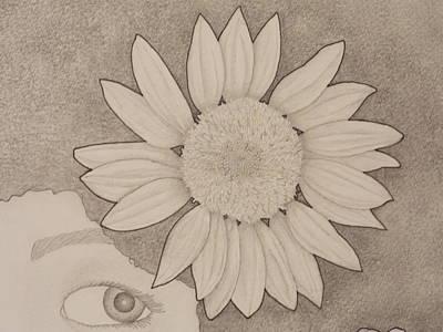 Sunflower Peeping Eye Print by Aaron El-Amin