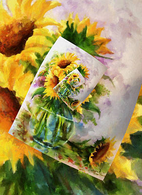 Orange Digital Art - Sunflower Print On Print On Print by Georgiana Romanovna
