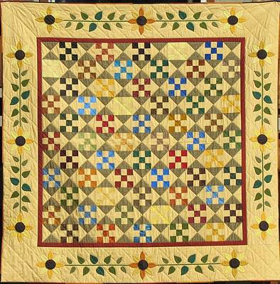 Queen Size Quilts Tapestry - Textile - Sunflower Quilt by Linda Aliotta