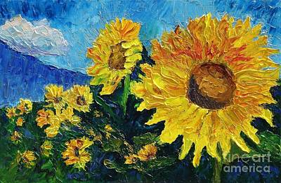 Pallet Knife Painting - Sunflower Riot by Linda Mooney