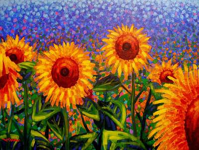 Wine Bottle Painting - Sunflower Scape by John  Nolan
