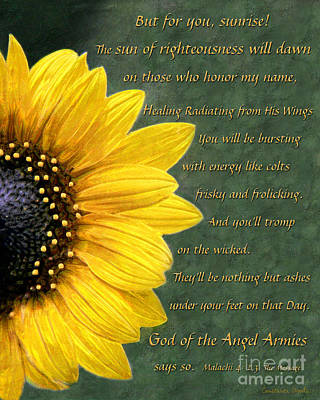 God Of The Angel Armies Art Painting - Sunflower Scripture by Constance Woods